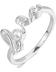 MunkiMix Amor Love 925 Plata Anillo Ring Plata San valentin Alianzas Boda Encanto Atractivo Elegante Pulido Mujer