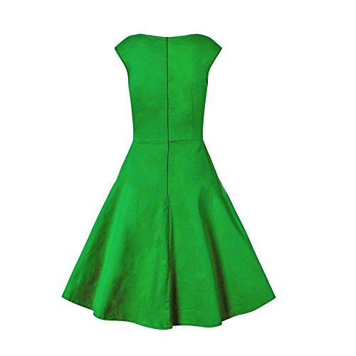 Dabag -V cou Hepburn style couleur pure taille serré robe sans manches longueur genou grande swing été robe de soiree (S, Bleu) Vert