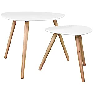 ATMOSPHERA - Tables Basses Gigognes - Set de 2 - Blanc - PM: H40x40x40cm / GM: H48x60x60cm
