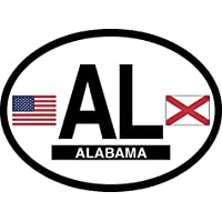 Alabama Oval Glossly FLAG Decal, Waterproof UV Coated Laminated Reflective Vinyl STICKER, 3.5