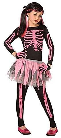,Karneval Klamotten' Kinder Kostüm Skelett Mädchen pink-schwarz Halloween Horror Komplettkostüm Größe