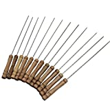 Edelstahl-Metall-Spieße Wiederverwendbare Holzgriff Twisted Metal Kabab Sticks BBQ Werkzeuge Mengonee