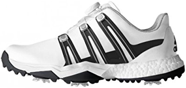 Adidas Powerband Boa Boost WD, Zapatos de Golf Hombre, Blanco/Negro/Plata, 46 EU (11 UK)