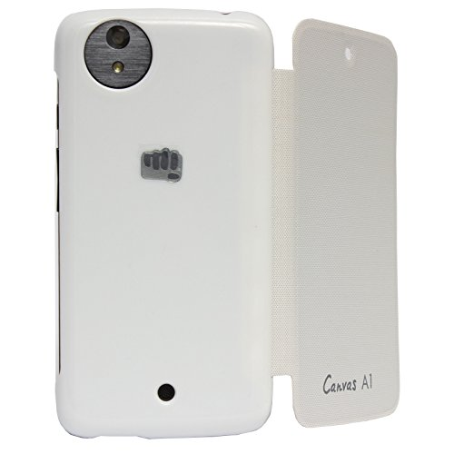 DMG Premium Leather Flip Cover for Micromax Canvas A1 Android One Mobile (White)