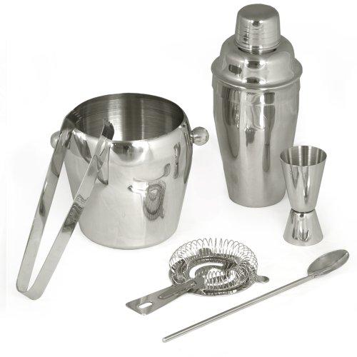 TecTake Cocktailshaker Set aus Edelstahl in Silber mit 6 Teilen bestehend aus Shaker, Messbecher, Sieb, Löffel, Zange und Eiskübel