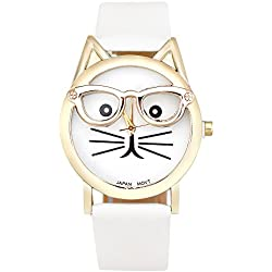 KEERADS Women Analog Quartz Dial Wrist Watch Cute Glasses Cat, White