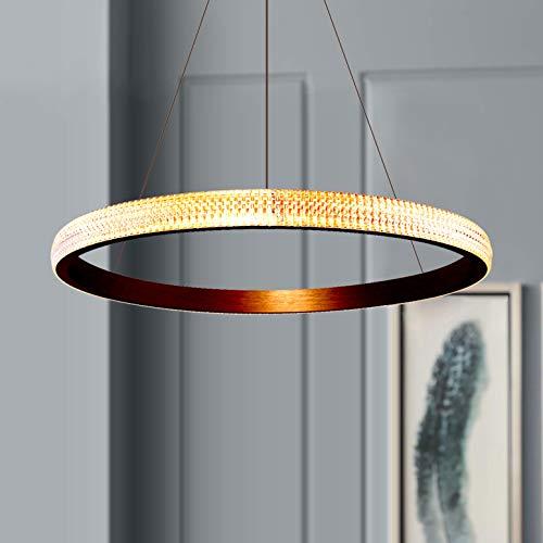 Leniure Modern Gold Circular LED Light Pendelleuchte Kronleuchter Leuchte 60 cm breit 4 cm hoch, Warmweiß 3000K