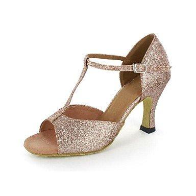 Silence @ latine Sandales pour femme Paillettes scintillantes Stiletto Talon Boucle Chaussures de danse doré
