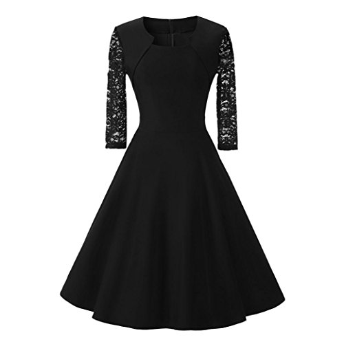Cocktailkleid,DOLDOA Frauen Rundhals 3/4 arm Knielang Kleid Hochzeit Abend Kleid Ballkleider (EU:38, Schwarz,Rundhals 3/4 arm Knielang Kleid) (Bottom Dot Bikini String)