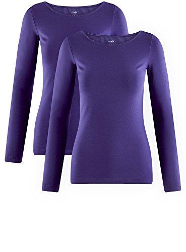 oodji Collection Damen Langarmshirt (2er-Pack) Violett (7500N)