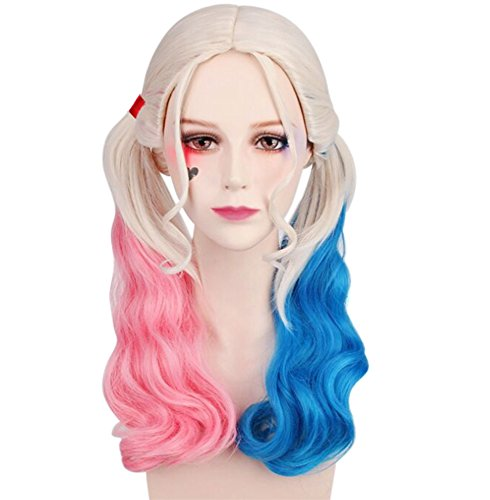 Suicide squad harley quinn cosplay & fashion parrucca con trecce ponytails twintails per travestimento da party, bar, carnevale, comic-con at halloween o natale