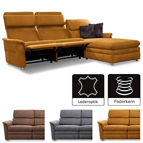 Cavadore Chalsay Sofaecke mit Longchair rechts inkl. Relaxfunktion und verstellbarem Kopfteil / mit Federkern / Eckcouch im modernen Design / Größe: 252 x 94 x 177 cm (BxHxT) / Farbe: Hellbraun (mustard) -