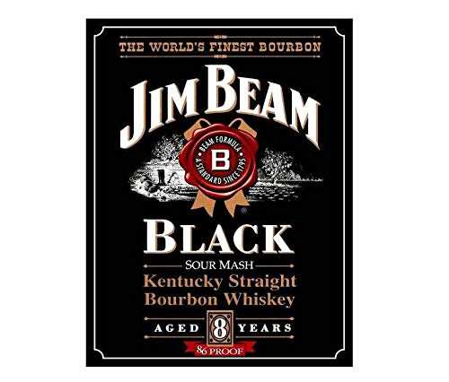 "The Worlds Finest Bourbon Jim Beam Black Vintage Style Metal Advertising Wall Plaque Sign Or Framed Picture Frame,Aluminum Metal Signs Tin Plaque Wall Art Poster for Home Decor 12""x8\"""