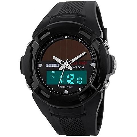 So Ver Hombres Con Un Panel Solar Dual zonas horarias banda de goma deportivo reloj de pulsera Negro, color negro