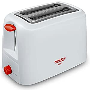 Maharaja Whiteline Viva 750-Watt Pop-up Toaster (Red and White)