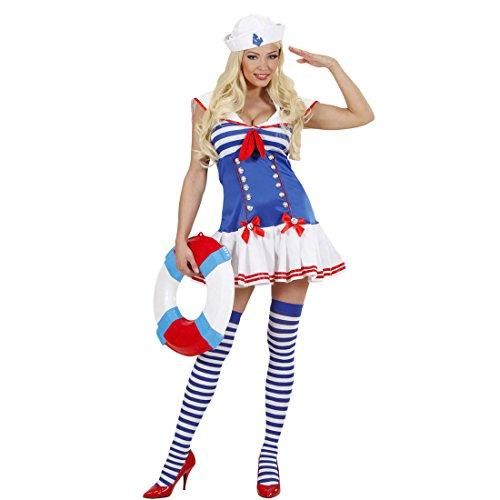 Amakando Damen Matrosenkostüm Sexy Matrosinnen Kleid M 38/40 Marine Frauenkostüm blau-weiß Matrosin Kostüm Party Outfit Frauen Seefrau Uniform Seefahrerin Matrosenuniform Damenkleid