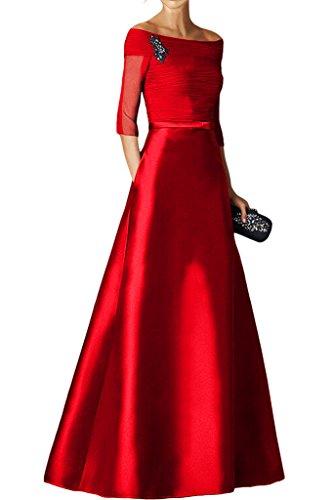 La_Marie Braut Burgundy Langarm Pailletten Abendkleider Brautmutterkleider Formal Kleider Bodenlang Rot