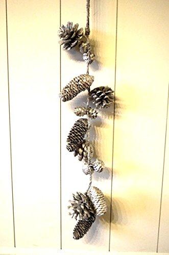 Girlande Weihnachtsdeko Tischdeko Tannenzapfen silber Hänger Baumschmuck Fensterdeko Kranz-Deko Türdeko Weihnachten X-mas ca. 45cm Länge Tannenzapfen Silber
