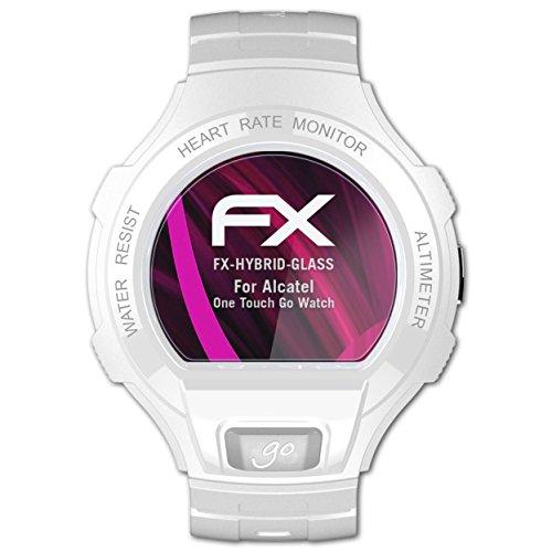 atFoliX Glasfolie kompatibel mit Alcatel One Touch Go Watch Panzerfolie, 9H Hybrid-Glass FX Schutzpanzer Folie