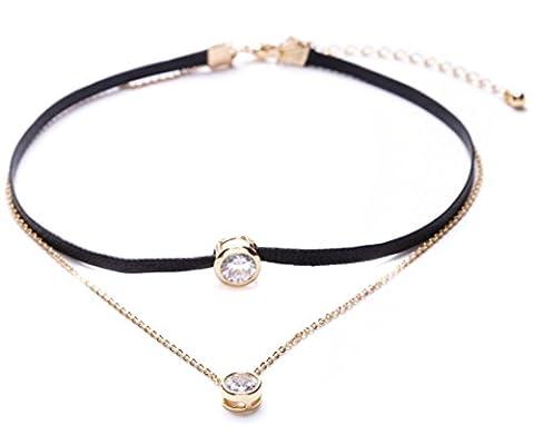 Happiness Boutique Damen Choker Kette in Schwarz | Mehrreihige Kette Kunstleder Choker Halsband mit Anhänger nickelfrei