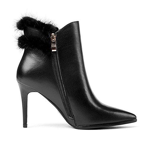 donne sottili tacchi alti stivali in pelle breve peluche casual con cerniera a caviglia scarpe, BLACK-39 BLACK-37