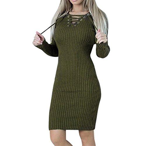 Robe pull femme,Bellelove Chandail à manches longues fille, robe moulante longue, bandage fendue robe Slim, robe de soirée en coton occasionnels pour les femmes (UE 38 / Asie L, armée verte)