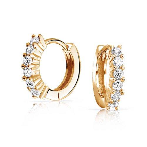 5 Solitär Zinke Set Cz Kleine Kpop Huggie Ohrringe Für Damen Herren Zirkonia 14K Vergoldet Sterling Silber 925