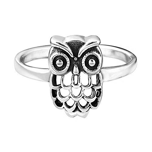 8a8c0fe6d9ae Materia joyería anillo Ladies búho plata - 925 anillo de plata antiguo  pájaro Gr