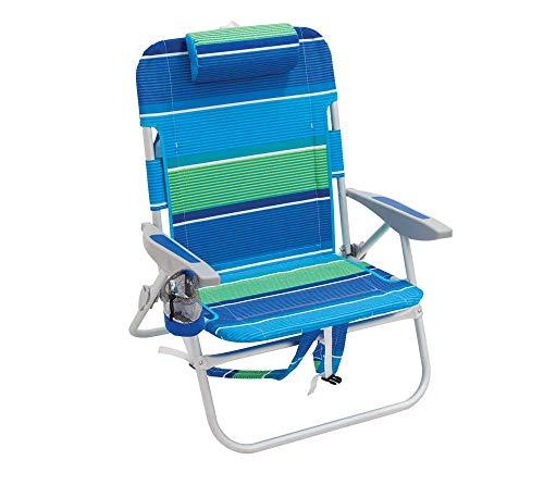Rio Brands Gartenstuhl Strandstuhl Rucksackstuhl Campingstuhl Angelstuhl Klappstuhl robust und praktisch mit Rückentasche Getränkehalter und Kissen blau/grün (Stuhl Rucksack Rio)