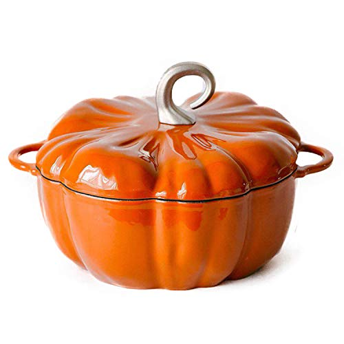 AIBAB Citrouille Fonte Pot Émaillé Cocotte 24cm Pot De Soupe Casserole 3,76 L Bleu Vert Orange
