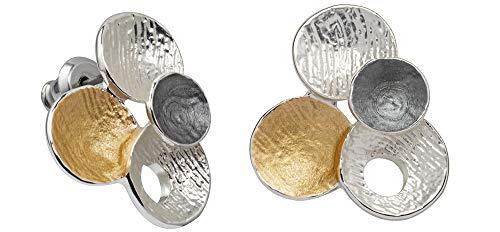 Perlkönig | Damen Frauen | Ohrringe Set | Ear Cuffs | Silber Gold Schwarz Farben | Kreis förmig| Tricolor | Stecker | Nickelfrei