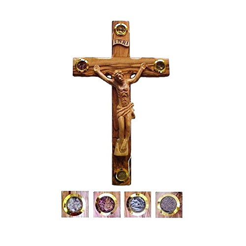 Bethlehem, gespleißtes Olivenholz mit Kreuz-Essenz des Heiligen Land 30.48 cm, 2 Stück