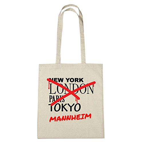 JOllify Mannheim di cotone felpato B947 schwarz: New York, London, Paris, Tokyo natur: Graffiti Streetart New York