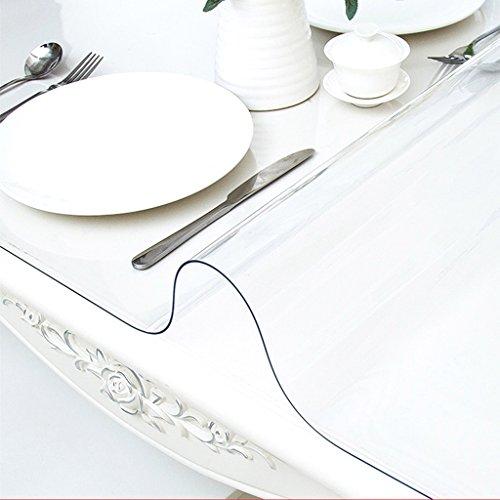 Weiches Glas Transparent Tischdecken PVC Kaffeedecke Tuch Handtuch Geometrie Muster Pflanze Blumen wasserdicht Antifouling Schimmel elegant (Size : 90 * 90cm) -