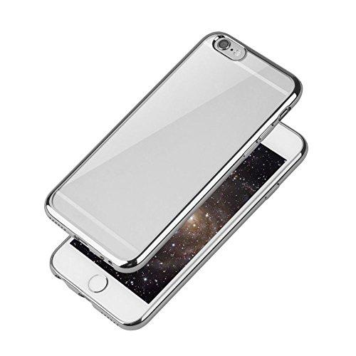 SODIAL(R) Handy Huelle + panzer glas folie Huelle Case Schutz Huelle Tasche Cover Etui Bumper Fuer iPhone 7 Silber Silber