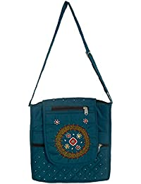 MANJUNATHA BANJARA ART WORK Women's Handbag (Light Green)