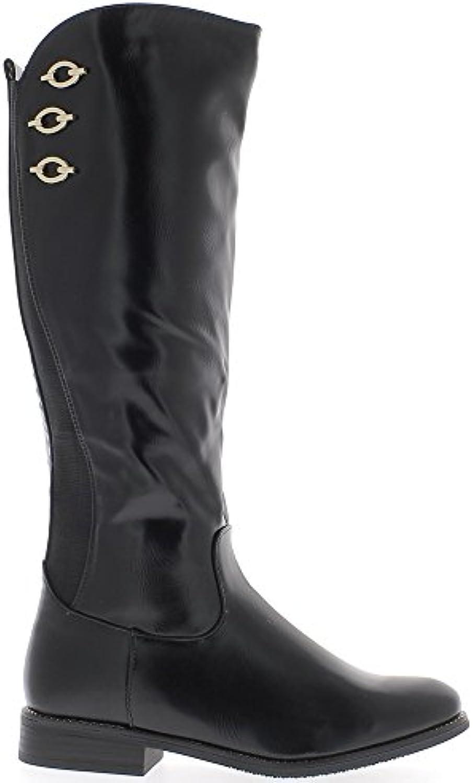 Las mujeres negras botas de tacón 3cm con varilla de elástico