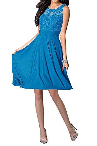 Carnivalprom Damen Abendkleider Mit Applikationen Elegant Rundhals Ballkleid Brautjungfernkleider Kurz Partykleid Blau