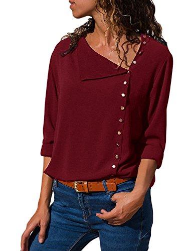 Quceyu Damen Bluse Chiffon Elegante Langarm Oberteile Mode Hemd Top Blusenshirt (Wein, X-Large)
