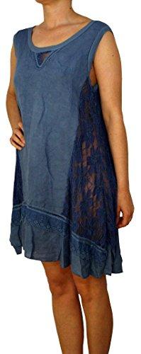 Perano -  Vestito  - cut out - Basic - Collo a U  - Senza maniche  - Donna Blu jeans