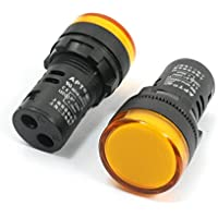sourcingmap® 2 Pcs CA 220V LED amarillo en forma de cilindro de alarma zumbador señal piloto luz de la lámpara