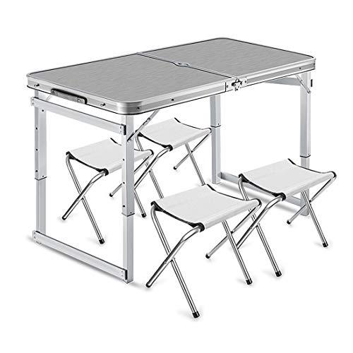 Einstellbare Aluminium Camping Tisch Picknicktisch Silber und Camping Möbel Set mit 4 Stühlen Leichte Klappgarten Balkon Arbeit,Silver