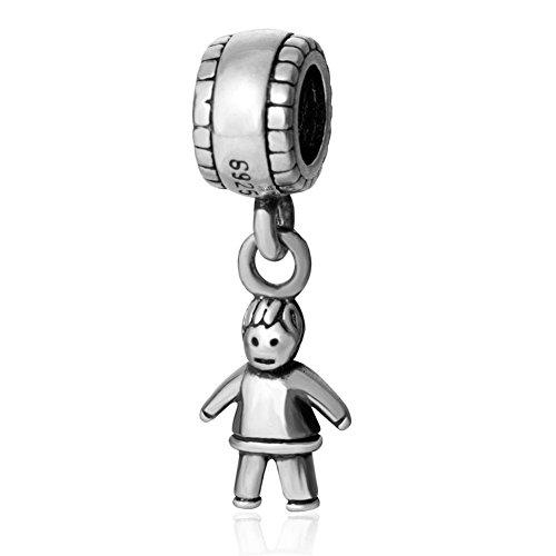 Hängender Charm, Motiv: Kleiner Junge, aus 925er-Sterling-Silber, für europäische - Silber Charm Sterling Baby Girl