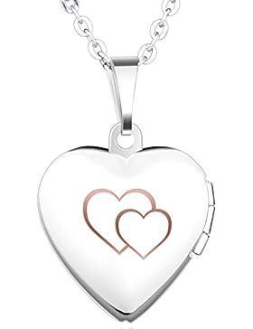 Unendlich U Schön Doppel Herzen Eingraviert Öffenbares Herz Foto Medaillon Edelstahl Mädchen Damen Anhänger Halskette...
