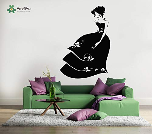 Vinyl Wandtattoo Kleid Mädchen Hochzeit Shop Exquisite Zimmer Glaskunst Moderne Dekoration Aufkleber 42X61 cm