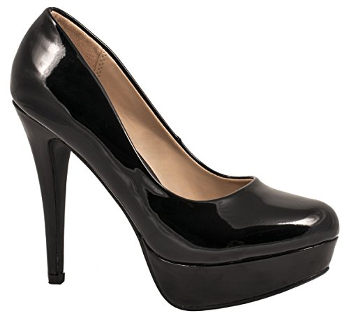 Elara Plateau Pumps | Moderne Damen High Heels | Stiletto Schuhe, Schwarz 39