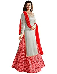 Kinjal Cretion Women's Georgette Grey Red Embroidered Long Semi-Stitched Party Wear Salwar With Dupatta(M-prachi...