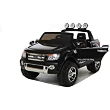 Electric Ride-On Toy Car Ford Ranger Wildtrak, 2 X MOTOR, two-seater, black, MP3 USB, SD card, original Ford license by RIRICAR