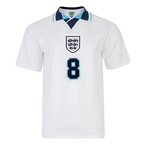 Official Retro England 1996 Euro No8 Gascoigne Retro Shirt 100% POLYESTER 19657dcd2