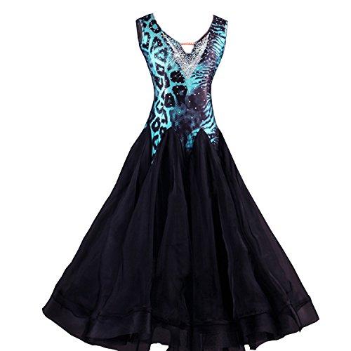YC gut Frauen Modern Dance Standard Ballroom Dance Wettbewerb Kleider Leopard Strass V-Ausschnitt Dancing Costumes Expansion Rock für Frauen Performance Tango Walzer Kleider Gr. XX-Large, Leopard